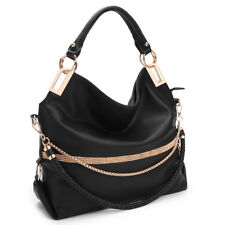 New Dasein Womens Handbags Leather Hobo Large Shoulder Bag Fringe Studded Purse