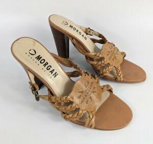 Morgan Tan Leather High Heel Mules Sandals Uk 5 Eu 38