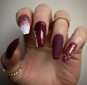 Hand Painted False Press On Nails Matte Burgundy Christmas Glitter