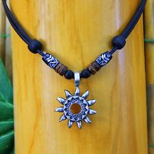 Lederkette Surferkette Tribalkette Halskette Herren Damen Metallanhänger Sonne