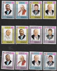 YEMEN ,1968, KENNEDY/KING/CHURCHILL , HUMAN RIGHTS , SET OF 12 STAMPS, PERF, VLH