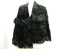 BLACK SHEARED RACCOON FUR BIG SCARF STOLE COLLAR CAPE WRAP n302