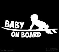 Baby On Board Surfing Decal Vinyl Surf Sticker 200mm Cars Windows Any Colour