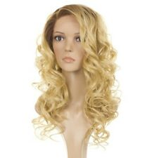Long Rooted Golden Blonde Wavy Natural Lace Front Wig | Human Hair Fibre Blend