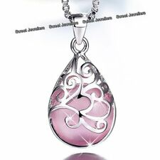 925 Silver Pink Opal Moonstone Necklace Jewellery - Xmas Gifts For Her Mum Women