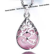 Deals Sale Women Gifts For Her Love Pink Stone Necklace Silver Pendant Jewellery