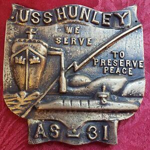 USS Hunley Brass Plaque - Navy Submarine