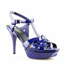 Yves Saint Laurent 'Tribute' Blue Patent Leather Platform Stiletto Sandals