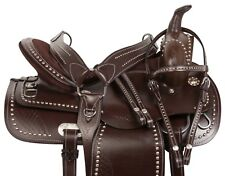 Custom Leather Western Pleasure Trail Horse Leather Saddle Tack Set 16