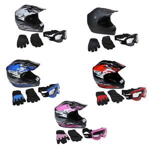 Lunatic Youth MX / ATV Helmet Goggles & Gloves - DOT Approved - Boys Girls Kids