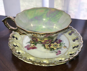 VINTAGE JAPANESE LUSTRE TEACUP And RETICULLATED SAUCER