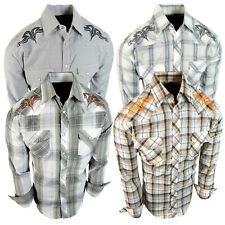 Mens Western Rodeo Cowboy Shirt Embroidered Shoulders and Back Snap Up Pockets