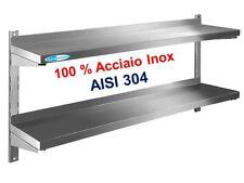 Mensola in acciaio inox 100% AISI 304 cm.100x40x4 Ripiano Doppio COMPLETA