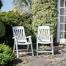 Garden Armchair Chair Resol Blanes Adjustable Folding Plastic Lounger White x2