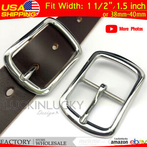 """1.5"""" Silver Center Bar Pin Belt Buckle Stainless Steel buckle Fit 40mm Strap DIY"""