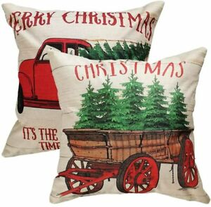 """Christmas Pillow Covers 18x18"""" Holiday Decoration Red Vintage Truck Tree 2 Pack"""