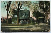 Postcard Schenectady NY Street View Entrance Vale Cemetery 1900's 1910 New York