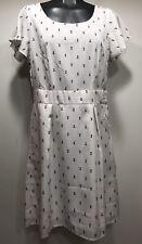 Vero Moda White Anchor Design Short Sleeve Side Zip Up Women Dress Size 38