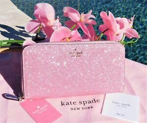 🌸 NWT Kate Spade Lola Glitter Continental Wallet Sparkling Rose Pink New $158