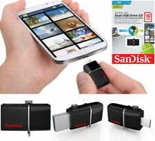 SANDISK 16GB Ultra Dual OTG USB 3.0 Flash Drive Memory Stick per Cellulari Tablet