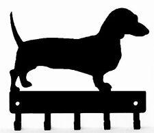 "Dachshund Dog Leash Hanger Metal Key Rack Holder 5 Hooks SMALL 6"" wide Made USA"