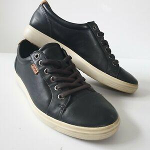 ECCO Women's Black Leather Soft 7 Sneaker US 8 EU 39 Lace Up Comfort Shoes