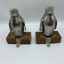 Pair of Metal PENGUIN Stocking Holders HANGER Mantle Rod Hook Christmas Garland