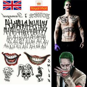 Halloween Batman The Joker Temporary Tattoos Suicide Squad Costume Fancy Dress