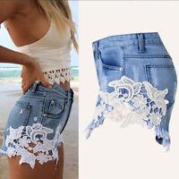 Women High Waist Stripped Hole Short Jeans Denim Pants Summer Hot Casual Shorts