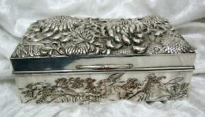 Stunning Chinese silvered box on copper chrysanthemums birds & great wave design