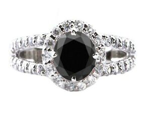 1.90Ct Natural Jet Black Diamond & White Accents Diamond Ring In 14KT Real Gold