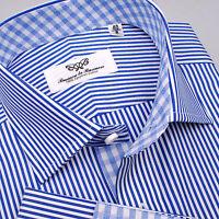 Mens Blue Striped Formal & Business Dress Shirt 100% Egyptian Cotton Boss Check