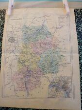 Carte géographique couleur 19°:SEINE ET MARNE  avec  plan de MELIN