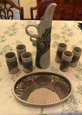 1987 Kozon Pottery Wine Serving Set - Pitcher, 6 Goblets and Serving Tray!