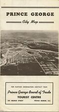 1962 Road Map Brochure PRINCE GEORGE British Columbia Canada Business District