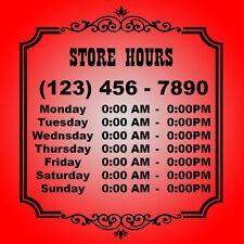 """23"""" X 20"""" Custom Business Store Hours Vinyl Decal for Window Door Sticker Sign"""