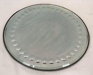 Vintage Art Deco Bullseye Convex Round Mirror Beveled Edge Vanity Plateau