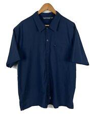 Kathmandu Mens Button Up Shirt Size Large Navy Blue Short Sleeve