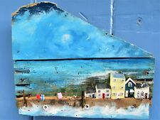 Handmade Driftwood 3D Painting Cottages Houses Unique Rustic Coastal Gift Art