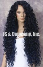 Human hair Blend Long Wig Tight Curly Full Lace Front Heat OK Blue mixed DLH