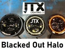 "JTX 7"" LED Headlights Plain Blacked Out Halo Hillman Hunter Gazelle Minx"