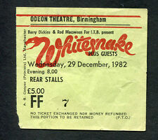 Whitesnake 1982 Saints an Sinners Tour Concert Ticket Stub Birmingham Coverdale