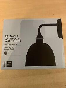 John Lewis & Partners Baldwin Bathroom Wall Light, Pewter/Copper, New