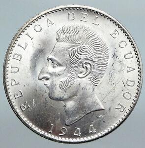 1944 ECUADOR Antonio Jose de Sucre y Alcala VINTAGE Silver 2 Sucres Coin i89989