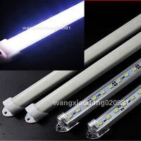 10x 50cm 5630SMD Cool White Rigid LED Light Bar AL Case Milk Clear Cover Cap 12V