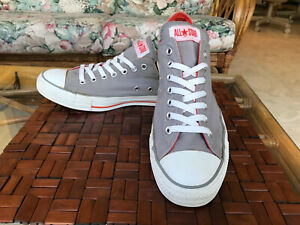 CONVERSE ALL STAR UNISEX LOW TOP SNEAKERS - GRAY/ORANGE UNISEX MEN 11, WOMEN 13