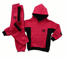 Muscle Works Gym Junior Kids Track Suit, Pullover Hoody Pink Track Bottoms