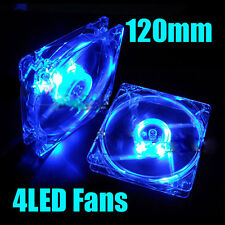 12v 25mm 120mm 4 LED AZUL pc cpu ordenador Ventilador Enfriador Funda Quad Fans