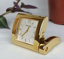 SEIKO Miniature Quartz Desk Top Clock Gold Colour Plated Metal Case
