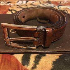 Cinturón De Hombre Marrón Cuero Gucci con hebilla de paladio Rectangular Hecho en Italia